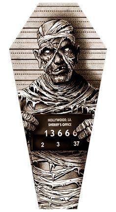 Mummy Mugshot by Marcus Jones Monster Coffin Shape Canvas Art Print – moodswingsonthenet