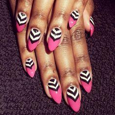 Chevron and pink nails