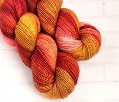 Copper Leaf - Variegated Hand Dyed Yarn - Merino Nylon Sock Yarn - 4Ply - Fingering Yarn - Hand Dyed Sock Yarn - Variegated Sock Yarn by ClementineAndThread on Etsy
