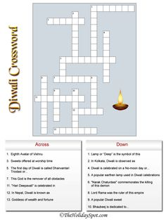 Diwali Crossword - - Pinned by @PediaStaff – Please visit http://ht.ly/63sNt for all (hundreds of) our pediatric therapy pins