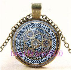 Vintage Celtic Mandala Photo Cabochon Glass Bronze Chain Pendant Necklace