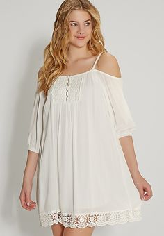 peasant dress with lace and cold shoulder sleeves | maurices