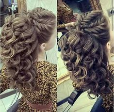 """Women's hair used to be referred to as their """"crowning glory."""" While that term is no longer used, the reality remains that hair plays a vital role in how women look and feel. This is why finding the best hair designs for women to choose from is so. Fancy Hairstyles, Braided Hairstyles, Wedding Hairstyles, Arabic Hairstyles, Bridesmaid Hair, Prom Hair, Pageant Hair Updo, Curly Hair Styles, Hair Dos"""