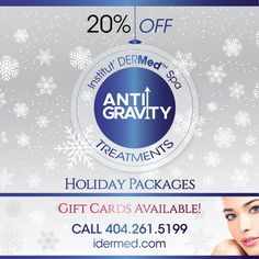 NEW Anti-Gravity Holiday Packages SAVE 20% (and up!) ENHANCE your facial and body contours with these specially priced ANTI-GRAVITY HOLIDAY PACKAGES! Gift cards Available. Holiday Packages, Anti Gravity, Spa Deals, Spa Services, Body Contouring, Contours, Gift Cards, Face And Body, Facial