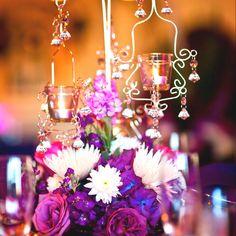 purple & pink wedding centerpiece...
