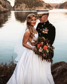Classic S wave bridal hair, bold makeup and a red lip for the Washington State elopement on the water Wedding Goals, Wedding Pics, Fall Wedding, Dream Wedding, Marine Wedding Colors, Marine Corps Wedding, Military Couples, Military Love, Navy Military Weddings