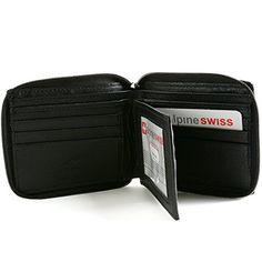 Alpine Swiss Men's Leather Zip Around Wallet ID Card Window Secure Zipper Bifold #deals