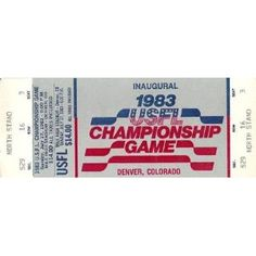 1983 USFL Championship Game Ticket