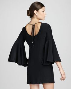 Wish i had a place to wear this:  Bell-Sleeve Tie-Back Dress - Neiman Marcus