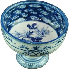 Japanese Antique 19th c Imari Sometsuke Chadōgu/ Haisen/ (Compote) Tea Ceremony;  from the Many Faces of Japan on Ruby Lane... Happy Holidays!