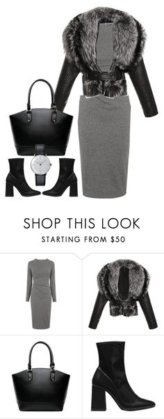"""""""J. Mendel Wool Jacket With Leather Trapunto Sleeves"""" by hotbabesonamission ❤ liked on Polyvore featuring Whistles, J. Mendel, Zara, Klein & more and totebag"""