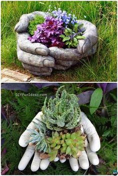 DIY Cement Hand Planter Cup-Concrete Planter DIY Ideas Projects Instruction with Video #Garden