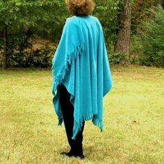 Turquoise Color Anti Pill Fleece Wrap, Shawl, Cape, Blanket Scarf or Poncho with Fringe--Lightweight Warmth--One Size Fits Most by YoungbearDesigns on Etsy