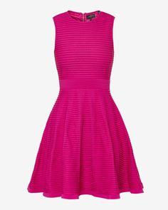 Ottoman ribbed dress - Deep Pink   Dresses   Ted Baker