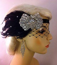Gatsby Headband Flapper Headband Downton Abbey by IceGreenEyes 1920s Fashion Women, Great Gatsby Fashion, Fashion Art, Carnival Hairstyles, Wedding Hairstyles, 1920s Flapper, Flapper Style, Flapper Headband, Tea Party Hats