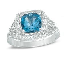 8.0mm Cushion-Cut London Blue Topaz and Lab-Created White Sapphire Frame Ring in Sterling Silver