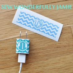 iPhone Monogram Decal Wrap Chevron $3.75 #monogram perfect gift for many occasions