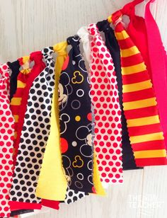 Mickey Mouse Inspired Fabric Tie Garland