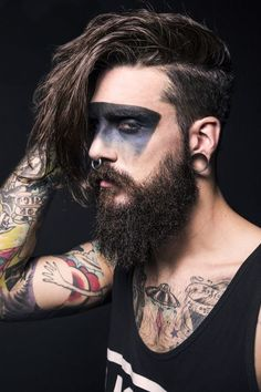 Forearm Tattoos are a choice of those who do not want their art to go unnoticed. A Forearm Tattoo remains trendy for a number of reasons, one of which is. Beard Makeup, Demon Makeup, Male Makeup, Drag Makeup, Makeup Art, Guys Halloween Makeup, Up Halloween, Forearm Tattoo Design, Forearm Tattoos
