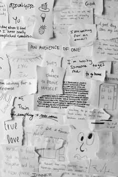 "he Whitney Museum recently sponsored a public art project with artist Gary Simmons. To make the project, teens collected responses to the question, ""What are you waiting for?"" from their classmates and the larger community. The handwritten scraps of paper were then photographed, printed, and wheatpasted onto a wall, creating a layered, complex, and sometimes contradictory collection of voices and opinions. - OPENER FOR FIRST DAY OF SCHOOL!!!"