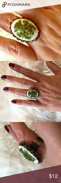 Guns N Roses Glam Rock Green & White Cameo Ring New, handmade, Guns n Roses Skull ring in green on white cameo. Right is made on a gunmetal base, and is adjustable to fit any size. Made by Posh Adornments. Posh Adornments Jewelry Rings