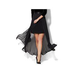 Pleated Overlay Maxi Skirt ($35) ❤ liked on Polyvore featuring skirts, black, full skirt, long pleated skirt, long skirt slip, floor length skirts and pleated skirt