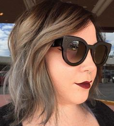 Medium Shaggy Hairstyle For Full Faces | #9: Grey Ombre for Chubby Faces. Ombre looks are some of the best hairstyles for plus size women because the fading color from dark to light draws the eye down. By doing this you can visually create length and slim down your face. For extra drama, try styling with glamorous shades and a bold lip color.