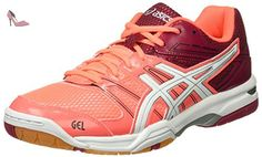 Asics Gel-Rocket 7, Chaussures de Volleyball Femme, Multicolore (Flash Coral / White / Cerise), 43.5 EU - Chaussures asics (*Partner-Link)