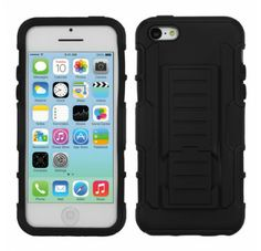 APPLE iPhone 5C Black Black Car Armor Stand Protector Cover (Rubberized)