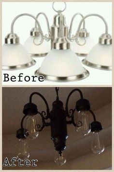 Brassy to classy my free chandelier centsational girl cottage previous pinners words diy lighting update all you need is a can of spray paint this was our kitchen light fixture that was over our table aloadofball Choice Image