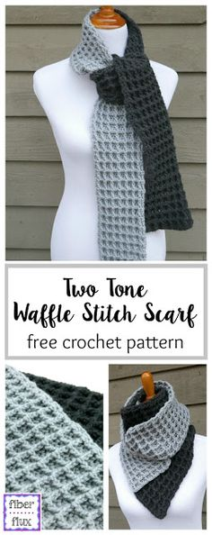 Free crochet pattern: Two Tone Waffle Stitch Scarf by Fiber Flux
