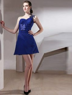 Attractive Royal Blue Taffeta Chiffon One-Shoulder Backless Cocktail Dress With Side Appliques– Discount Cocktail Dresses Homecoming Dresses 2014, Prom Dresses, Formal Dresses, Sweet Sixteen Dresses, Sweet 16 Dresses, Backless Cocktail Dress, Mini Dress Formal, Girls Short Dresses, Chiffon