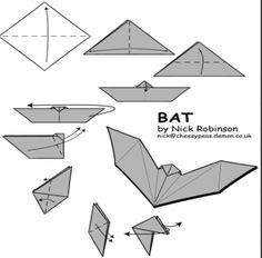 Halloween origami part 2 – caskets and bats!