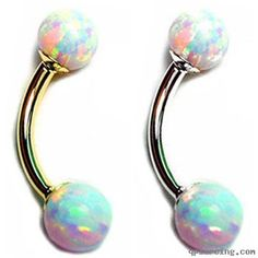 14K Gold Curved with Beautiful Opal Balls!, 10 Ga  http://qpiercing.com/eyebrow-piercing/14k-gold-curved-with-beautiful-opal-balls-10-ga-71691.html