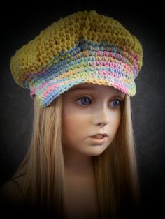 Crochet Yellow Newsboy Cap with varigated Trim for  Toddler / Ready for Immediate Shipment