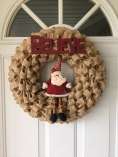 Burlap Christmas Wreath Christmas Wreaths Winter by NaturesDoorway Best Picture For burlap wreath fo Santa Wreath, Felt Wreath, Burlap Wreath, Burlap Ornaments, Etsy Wreaths, Holiday Wreaths, Winter Wreaths, Pine Cone Decorations, Christmas Decorations