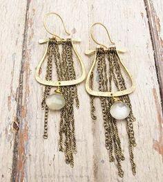 Brass Moonstone Chain Earrings