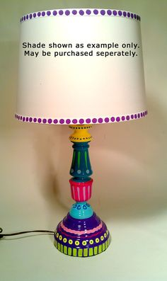 Hand Painted Table Lamp 006 Fun Funky Whimsical and por LisaFrick, $99.99