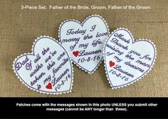 Bridegroom - Bride Father - Groom Father - Wedding Tie Patches, Iron On Tie Patches, Sew On Tie Patches, Personalized Patches, 3 PIECE SET #weddingaccessories #fatherofthebride #fatherofthegroom #weddingtiepatches
