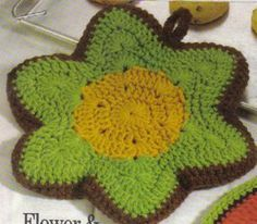 free crochet flowered potholder pattern