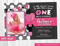 Minnie Mouse Birthday Invitation Inspired Party First