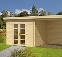 <p> The  Amstelveen is a modern style pent log cabin measuring 6 x2.5m. Constructed using 28mm Swedish pine logs.  The Cabin is 3.0m x 2.50m  </p>