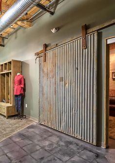 Openings design elements of Johnston Design Group Exterior Barn Doors, Barn Door Designs, Shed Doors, Corrugated Metal, Barn Door Hardware, Basement Remodeling, Home Projects, Building A House, House Plans