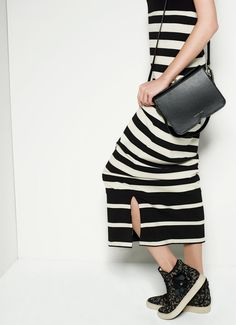 TWIN-SET Simona Barbieri: Two-tone striped dress, satchel bag and lace sneakers