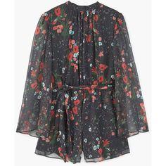 MANGO Floral Short Jumpsuit (€94) ❤ liked on Polyvore featuring jumpsuits, mango jumpsuit, floral print jumpsuit, short jumpsuits, long jumpsuits and jump suit