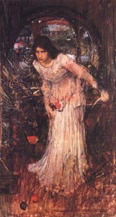 "John William Waterhouse, ""The Lady of Shalott"" (Study), 1894, oil on canvas, Falmouth Art Gallery, Falmouth, UK"
