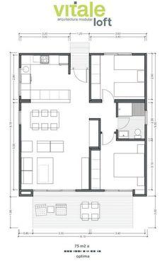 Casas Prefabricadas Modulares de Hormigón - Modelo Optima 75 m2 #cocinaspequeñasdepartamento