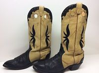 #Q MENS BOULET CANADA BUCKAROO COWBOY BULLHIDE LEATHER BLACK BOOTS SIZE 9.5 3E