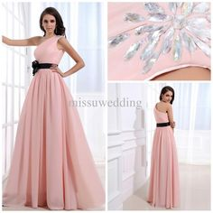 Wholesale Bridesmaid Dress - Buy Top Selling Custom Made One Shoulder A Line Full Length Chiffon Pink Black Sash Long Cheap Bridesmaid Dresses Prom Gown Formal Evening Dress, $85.0 | DHgate