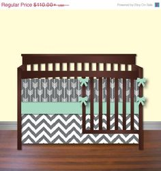 Black Friday Sale Arrows and Chevron Mint Grey Bedding by idbaby